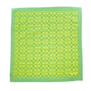 COACH GREEN SIGNATURE COTTON & SILK BLEND SCARF